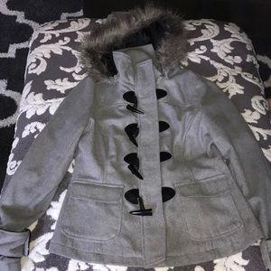Gray jacket with fur hood
